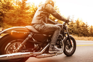 Riding Motorcycle Down Road